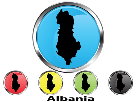 Glossy vector map button of Albania