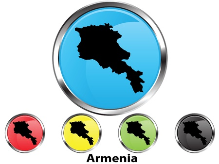 map of armenia: Glossy vector map button of Armenia