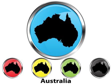 Glossy vector map button of Australia Vector