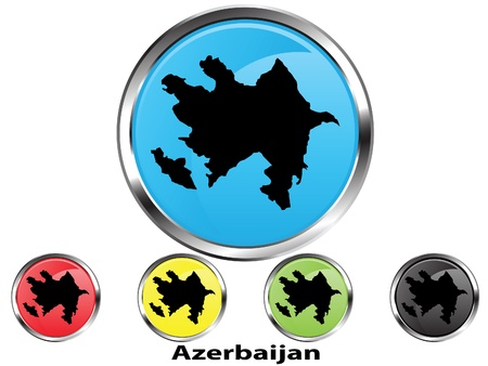 Glossy vector map button of Azerbaijan