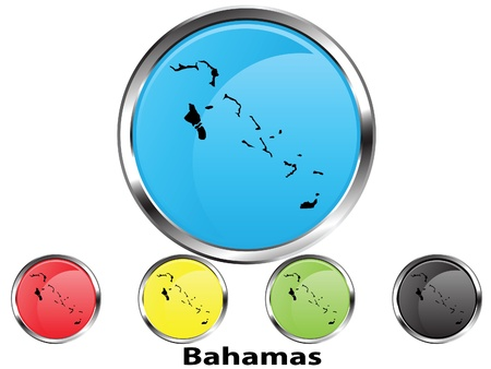 Glossy vector map button of Bahamas