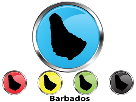 Glossy vector map button of Barbados