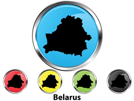 Glossy vector map button of Belarus