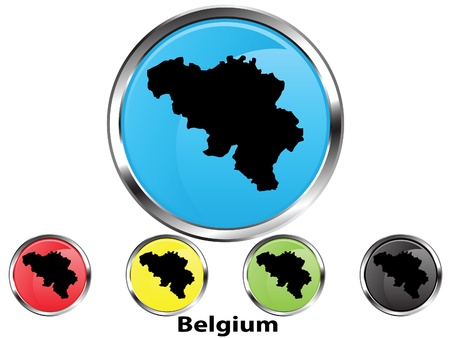 Glossy vector map button of Belgium