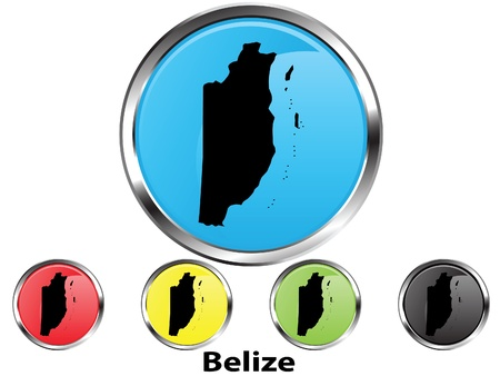Glossy vector map button of Belize