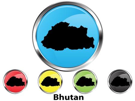 bhutan: Glossy vector kaart toets van Bhutan
