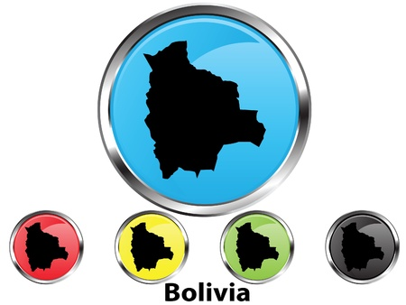 Glossy vector map button of Bolivia Stock Vector - 10773135