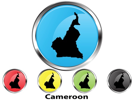 Glossy vector map button of Cameroon Illustration