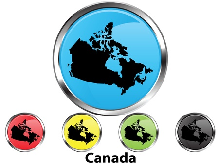 Glossy vector map button of Canada Illustration
