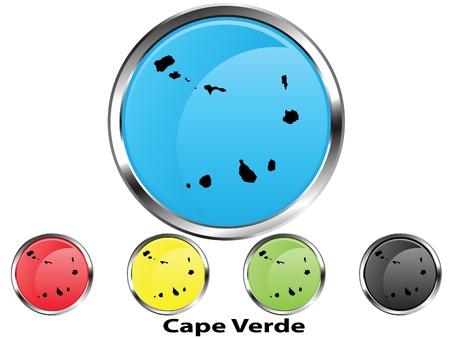 cape verde: Glossy vector map button of Cape Verde