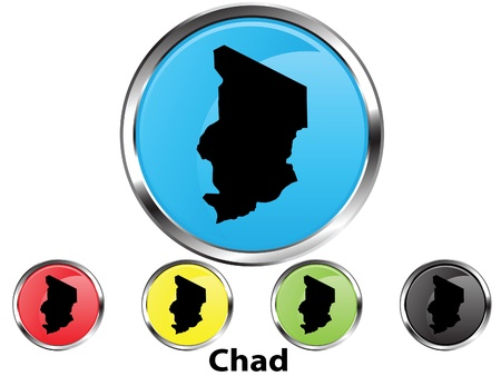 tchad: Glossy bouton carte vectorielle du Tchad