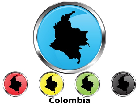 Glossy vector map button of Colombia