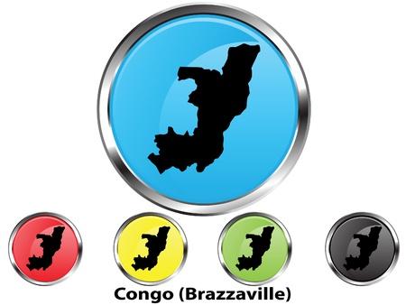 Glossy vector map button of Congo (Brazzaville) Vector