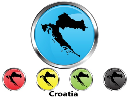 Glossy vector map button of Croatia Illustration
