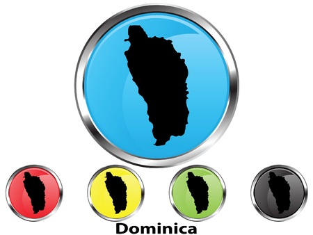 Glossy vector map button of Dominica Illustration