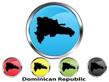 Glossy vector map button of Dominican Republic Vetores