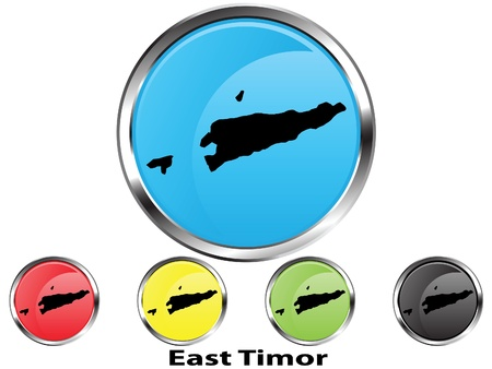 Glossy vector map button of East Timor Illustration