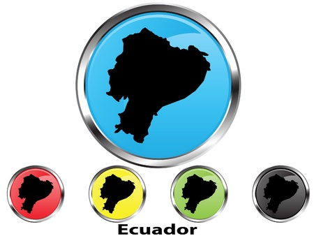 Glossy vector map button of Ecuador
