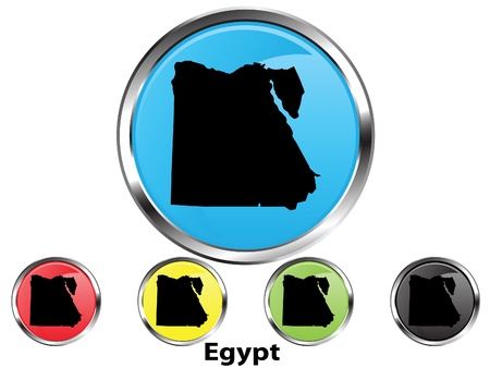 foreign country: Glossy vector map button of Egypt Illustration