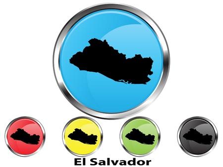 mapa de el salvador: Bot�n de mapa vector brillante del Salvador