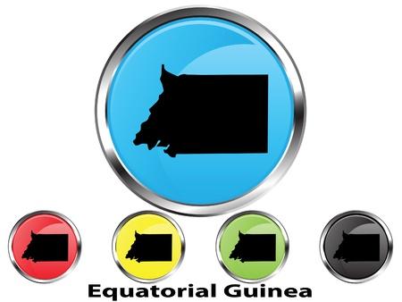 guinea equatoriale: Glossy mappa pulsante vettore della Guinea Equatoriale Vettoriali