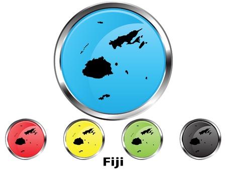 fiji: Glossy vector map button of Fiji