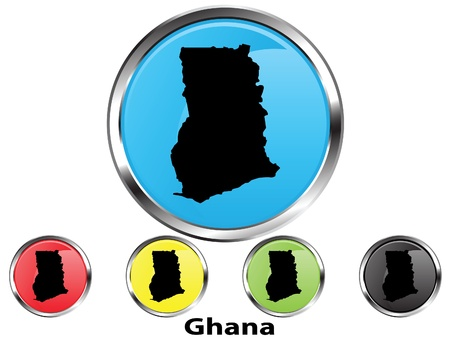 Glossy vector map button of Ghana