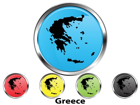 Glossy vector map button of Greece Illustration