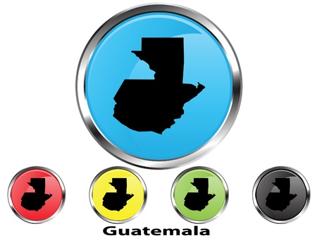 Glossy vector map button of Guatemala