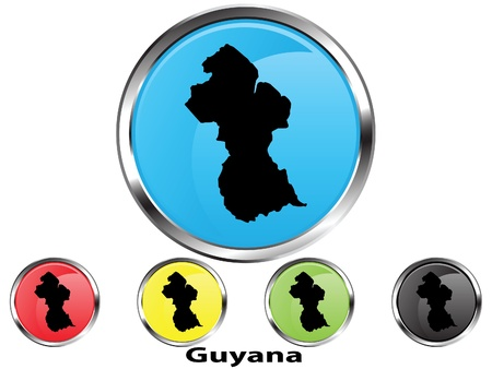 Glossy vector map button of Guyana