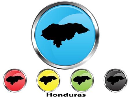 Glossy vector map button of Honduras Vector
