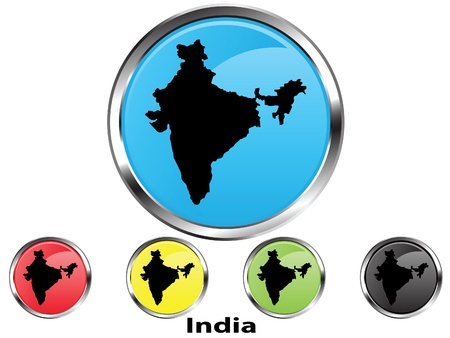 Glossy vector map button of India