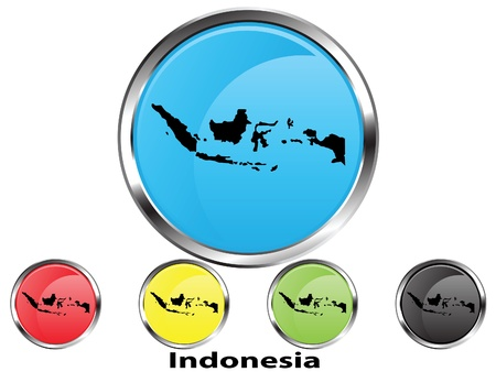 Glossy vector map button of Indonesia Vector