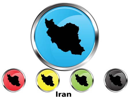 Glossy vector map button of Iran