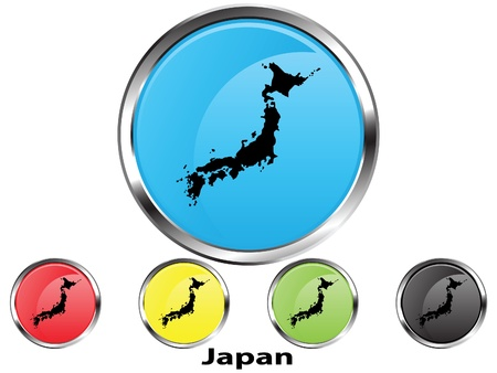 Glossy vector map button of Japan