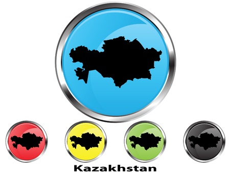 Glossy vector map button of Kazakhstan