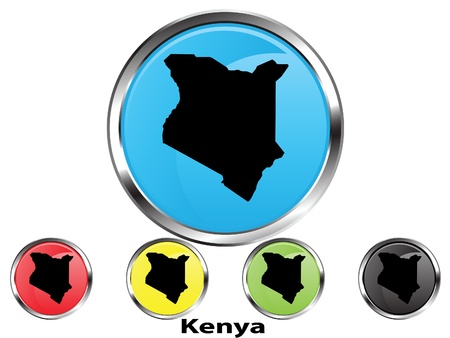 Glossy vector map button of Kenya