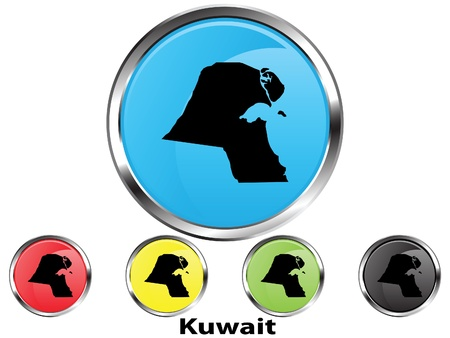 Glossy vector map button of Kuwait Illustration
