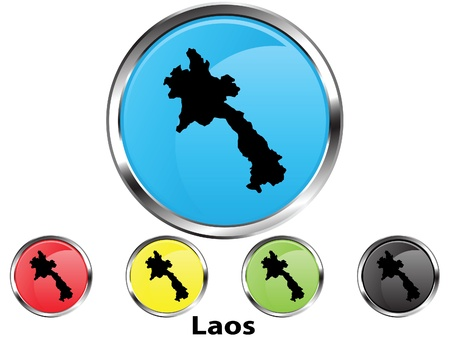 Glossy vector map button of Laos
