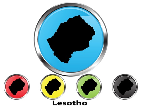 lesotho: Glossy vector map button of Lesotho