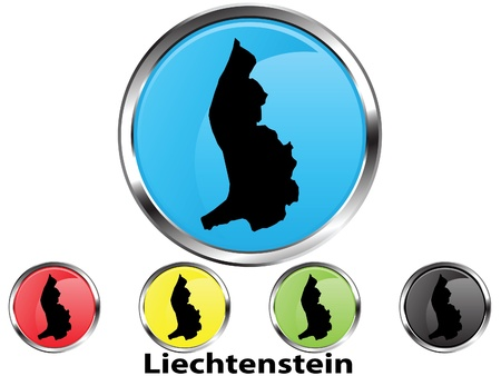 Glossy vector map button of Liechtenstein