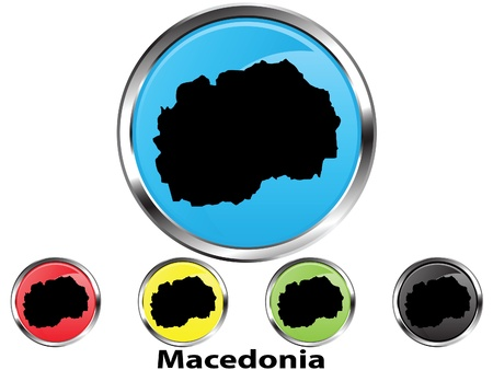 Glossy vector map button of Macedonia