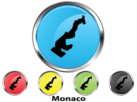 Glossy vector map button of Monaco