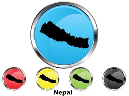Glossy vector map button of Nepal