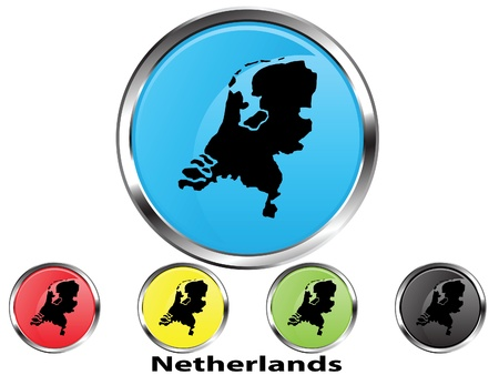 Glossy vector map button of Netherlands