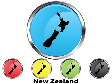 Glossy vector map button of New Zealand Vector