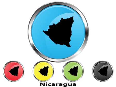 Glossy vector map button of Nicaragua Vector