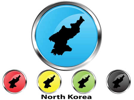Glossy vector map button of North Korea Illustration