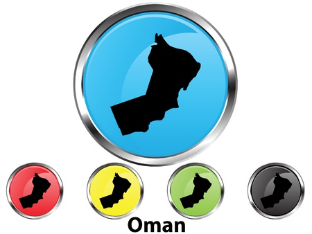 Glossy vector map button of Oman Vector