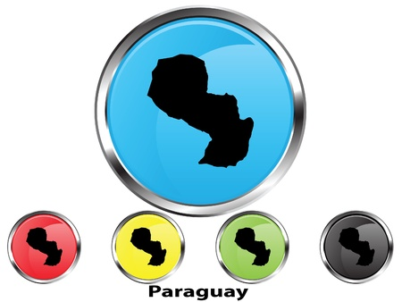 Glossy vector map button of Paraguay